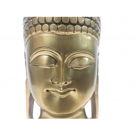 Buddha face beautifully hand carved in wood with metallic finish 6 inches - Buddah statue, Zen decor, Gautam Buddha handmade figurine