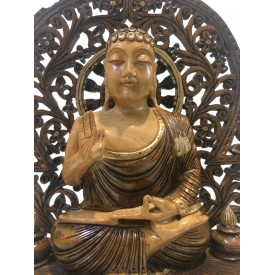Buddha statue sitting in meditation on a pedestal with an arch carved in wood 10 inches - Buddha idols and figurine hand carved in wood