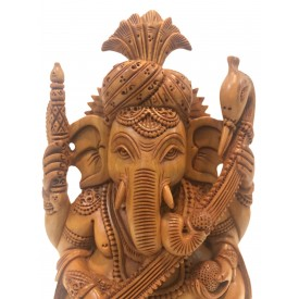 Ganesh statue with Pagdi in wood 7 inches - Ganesha idol and Ganpati figurines hand carved in kadam wood - wooden handicrafts from India