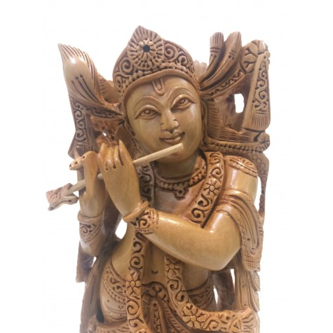 Krishna statue hand carved in wood 8 inches - Krishna playing flute idols and figurine handmade in wood - Indian handicrafts