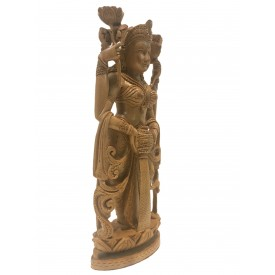 Goddess Laxmi standing statue in wood 10 inches - Devi Lakshmi hand carved idol and figurine in wood for home temple decor - Diwali gifts