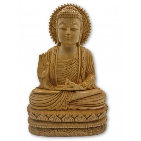 Buddha statue sitting in meditation in wood 11 inches - Buddha idols and figurine hand carved in wood - Zen decor, Buddah idols