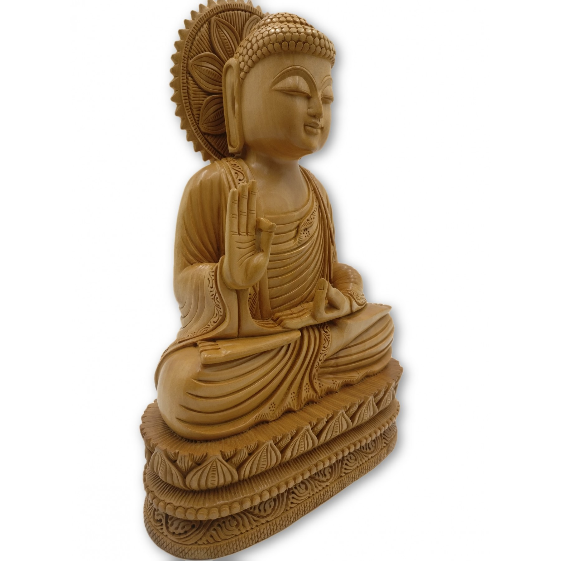 Antique Table Decor Buddha Statue Collectable Religious: Buddha Statue Sitting In Meditation In Wood 11 Inches