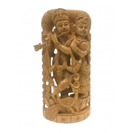 Radha Krishna handmade statue in wood 10 inch - Lord Krishna and Radha idols and figurines in wood - wooden handicrafts from India