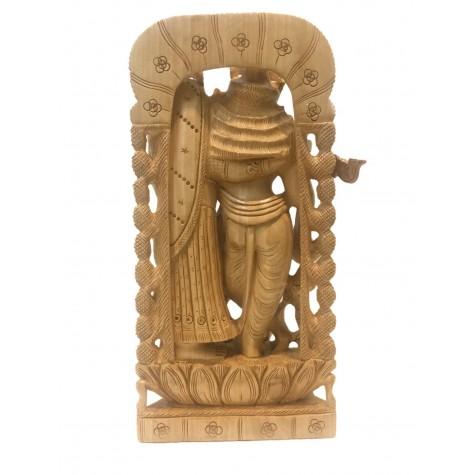 Radha Krishna handmade statue in wood 10 inch - Lord Krishna and Radha idols and figurines in wood - wooden handicrafts from India